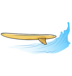 Cartoon wooden surfing boardon the water wave vector