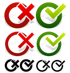 check mark and cross set vector image