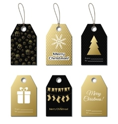 Christmas gift tags gold labels vector