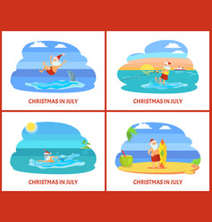 Christmas on beach holiday in summer celebrate vector