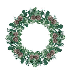 christmas wreath with ornaments vector image