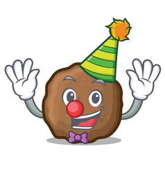 Clown meatball mascot cartoon style vector