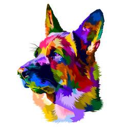 Colorful german shepherd dog on pop art style vector