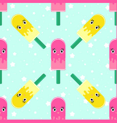 colorful seamless pattern of cute smiling eskimo vector image