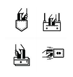 Credit card inset pockets icon vector