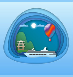 cruise ship at sea with pagoda near mountain and vector image