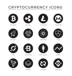 Cryptocurrency icons set vector