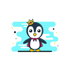 Cute bapenguin king vector