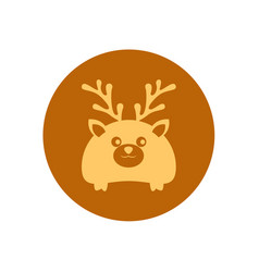 cute deer antler circular icon vector image