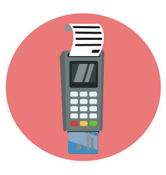 Debit or credit card inserted into the pos vector
