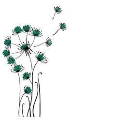 design of hand drawn doodle dandilon flowers set vector image