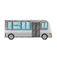 drawing bus transport urban public vector image