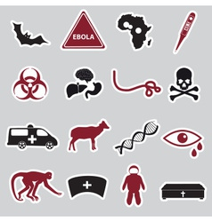 ebola disease red and black stickers set eps10 vector image