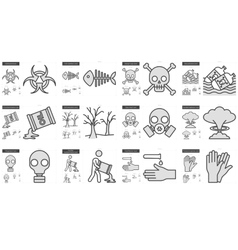 Ecology biohazard line icon set vector image