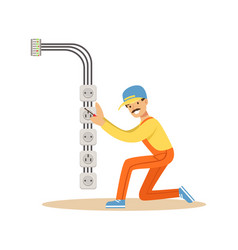 electrician installing electrical equipment and vector image