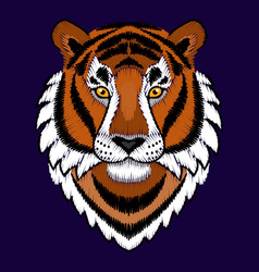 Embroidery tiger head vector