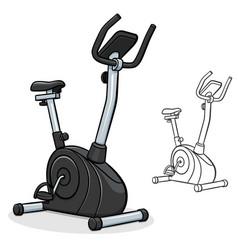 Exercise bike cartoon vector
