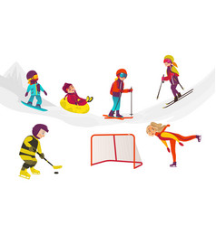 Flat kids doing winter outdoor sport set vector