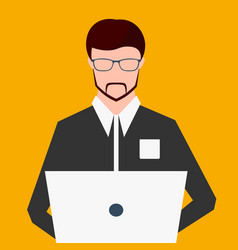 Freelancer working on computer flat vector