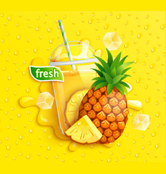 fresh pineapple juice to go splash banner vector image