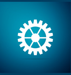 gear icon on blue background cogwheel sign vector image