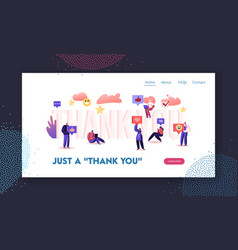 Gratitude in internet website landing page vector
