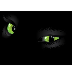Green cat eyes in the dark vector image