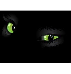 Green cat eyes in the dark vector