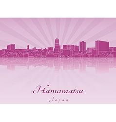 Hamamatsu skyline in purple radiant orchid vector