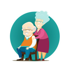 happy elderly couple posing together vector image