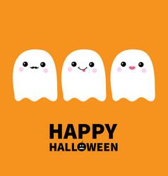 happy halloweenthree flying ghost spirit set vector image