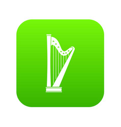 harp icon digital green vector image