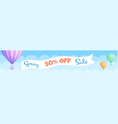 hot air balloon travel sale discount banner offer vector image