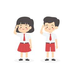 Indonesian elementary school uniform kids salute vector