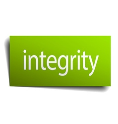 Integrity green paper sign isolated on white vector