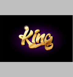 King 3d gold golden text metal logo icon design vector