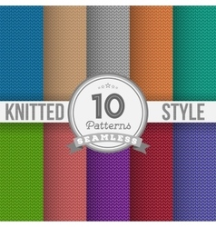 Knitted Style Seamless Pattern Set EPS10 vector image