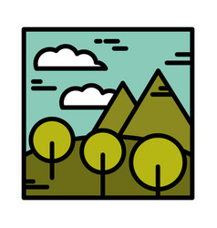 landscape mountains round trees field sky clouds vector image