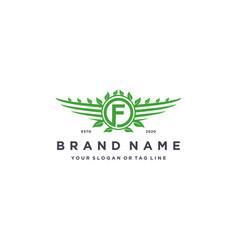 Letter f leaf wing logo design concept vector