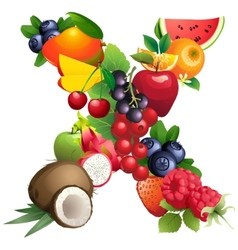 Letter x composed of different fruits with leaves vector
