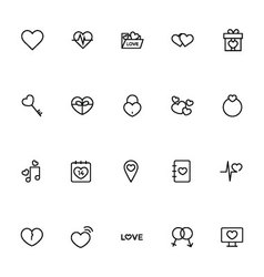 Love and Romance Line Icons 1 vector image