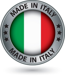 Made in Italy silver label with flag vector image