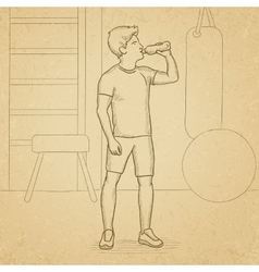 Man drinking water vector