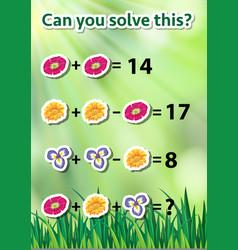 Math problem solving worksheet vector