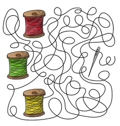 Maze game needle and spools of thread vector