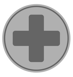 Medical cross silver coin vector