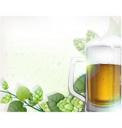 Mug of beer and hops branch vector