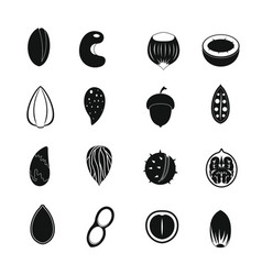 Nuts icons set simple style vector