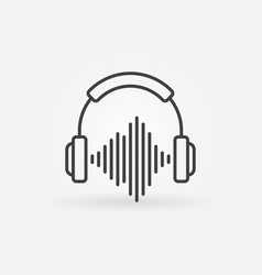 outline headphones with sound wave icon vector image