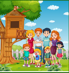 Park outdoor scene with happy family vector